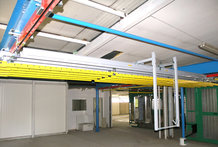 Overhead Monorail system with shifting Bridge in a Paint finishing system
