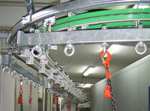 Overhead Monorail System with partial automated flow of materials via Circular Conveyor in a paint and drying plant