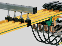 Conductor Rail with with hanger clamps and current collectors